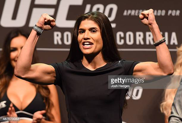 Jessica Aguilar steps onto the scale during the UFC 190 weighin inside HSBC Arena on July 31 2015 in Rio de Janeiro Brazil