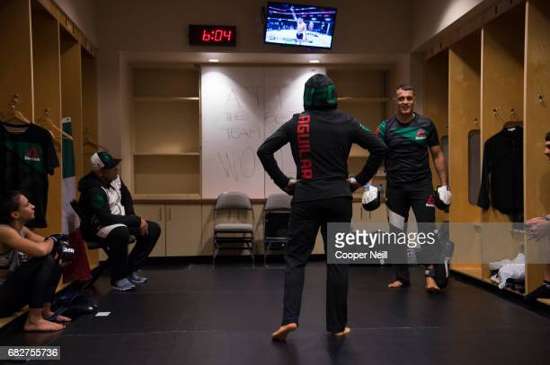 Jessica Aguilar warms up in the locker room before fighting Cortney Casey during UFC 211 at the American Airlines Center on May 13 2017 in Dallas...