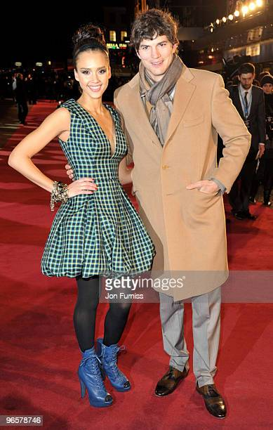 Jessica Alba and Ashton Kutcher attend the European Premiere of 'Valentine's Day' at Odeon Leicester Square on February 11, 2010 in London, England.