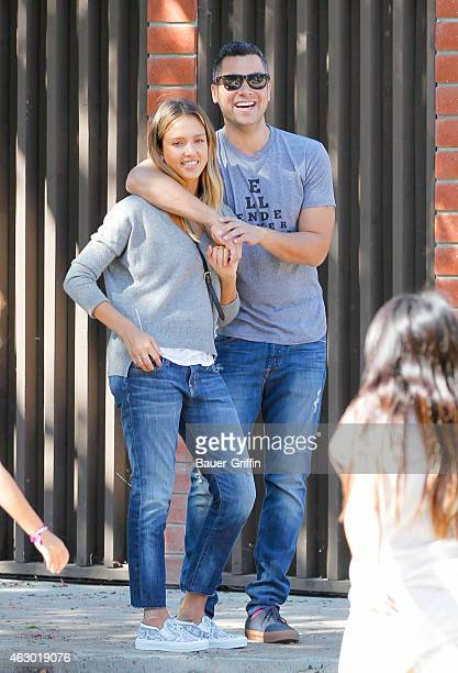 Jessica Alba and Cash Warren are seen on February 08 2015 in Los Angeles California