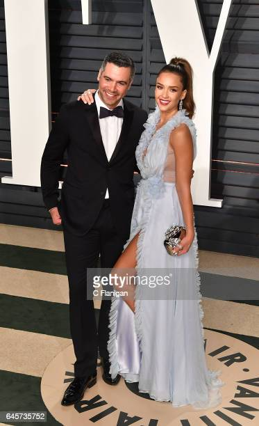 Jessica Alba and Cash Warren attend the 2017 Vanity Fair Oscar Party Hosted by Graydon Carter at the Wallis Annenberg Center for the Performing Arts...