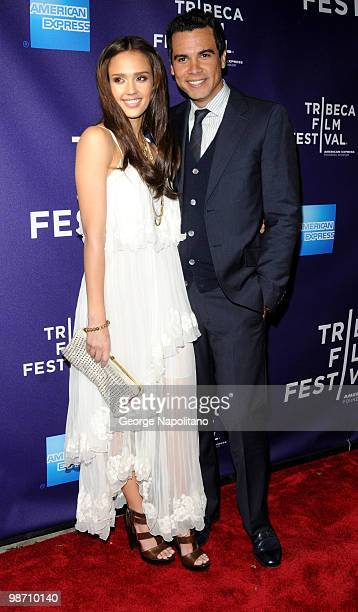 Jessica Alba and Cash Warren attend the The Killer Inside Me premiere during the 9th Annual Tribeca Film Festival at the SVA Theater on April 27 2010...