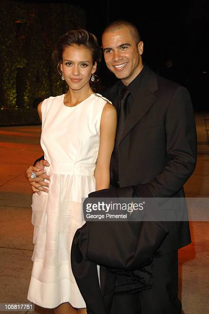 Jessica Alba and Cash Warren during 2006 Vanity Fair Oscar Party Hosted by Graydon Carter Arrivals at Morton's in West Hollywood California United...