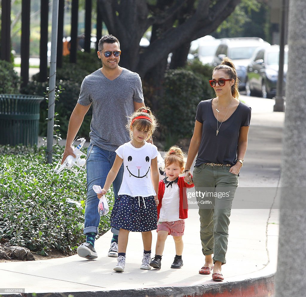 Jessica Alba and Cash Warren with daughters Haven Warren and Honor Warren are seen on January 25, 2014 in Los Angeles, California.