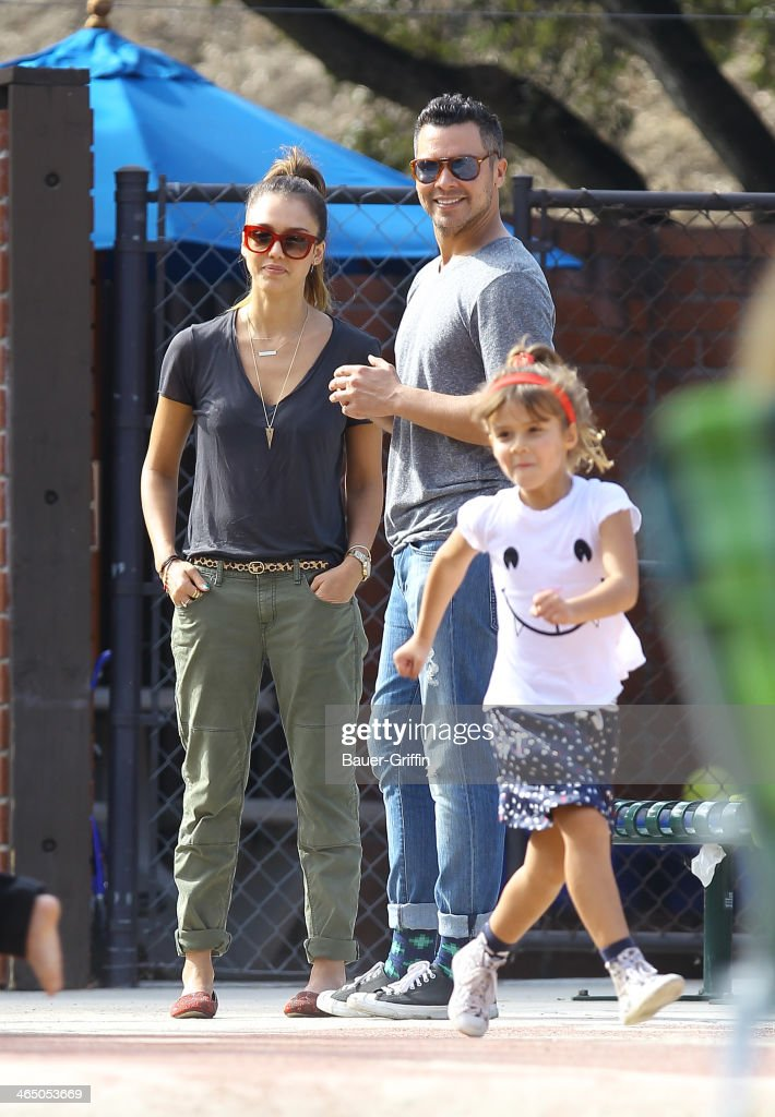 Jessica Alba and Cash Warren with Honor Warren are seen on January 25, 2014 in Los Angeles, California.