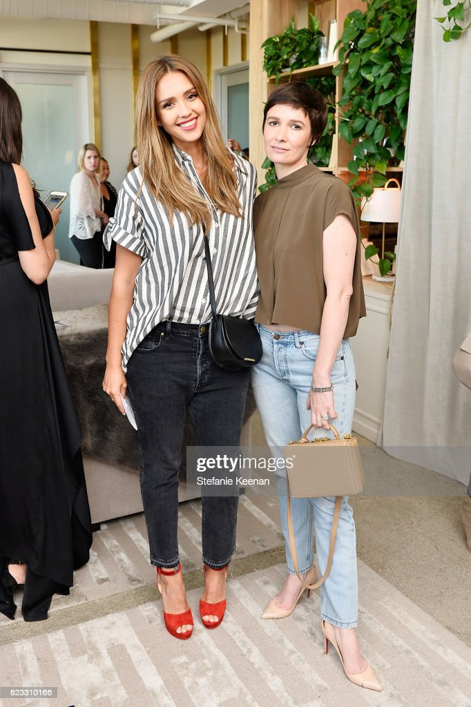 Jessica Alba and Cassandra Grey at Cuyana Essential Women Event on July 26, 2017 in West Hollywood, California.