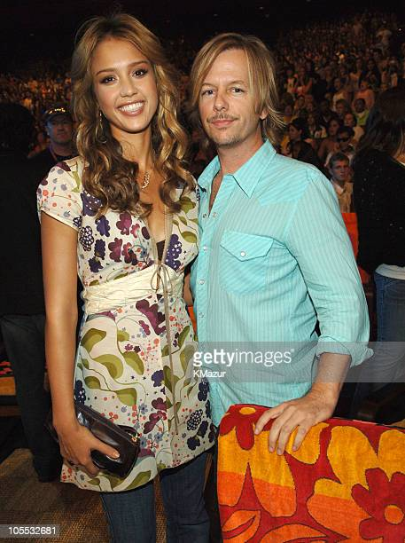 Jessica Alba and David Spade during 2005 Teen Choice Awards Backstage and Audience at Gibson Amphitheatre in Universal City California United States
