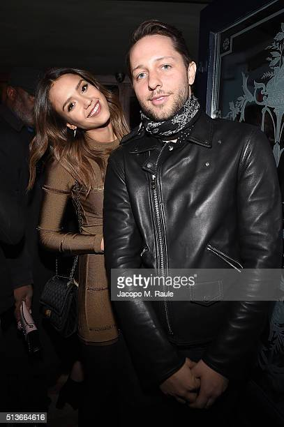 Jessica Alba and Derek Blasberg attend Balmain Aftershow Party as part of Paris Fashion Week Womenswear Automn/Winter 2016 at Restaurant Laperouse on...