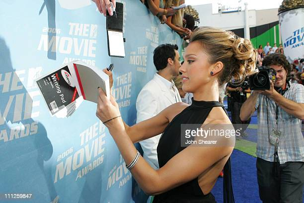 Jessica Alba and fans during 2006 MTV Movie Awards MTVcom Red Carpet at Sony Pictures in Culver City California United States