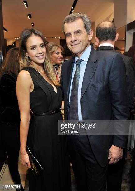 Jessica Alba and Ferruccio Ferragamo attend the flagship store launch of Salvatore Ferragamo's Old Bond Street Boutique at 24 Old Bond Street on...