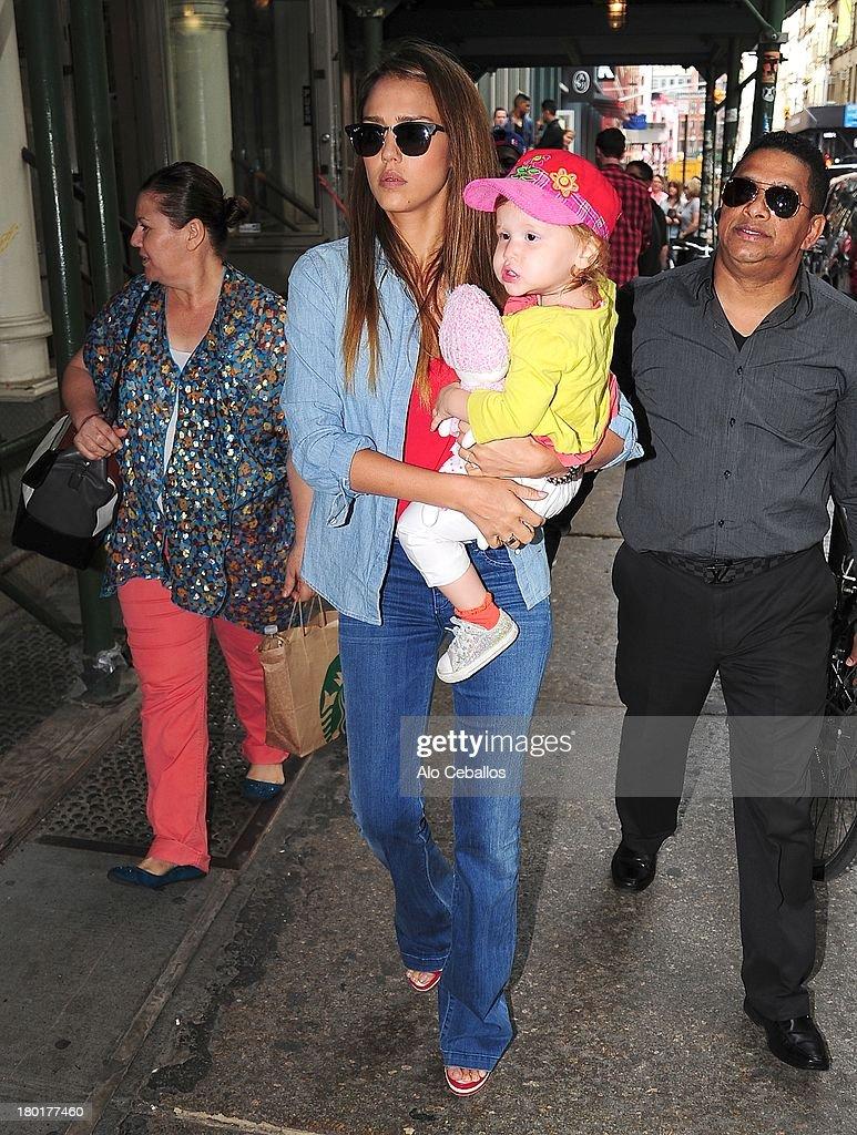 Jessica Alba and Haven Garner Warren are seen in Soho on September 9, 2013 in New York City.