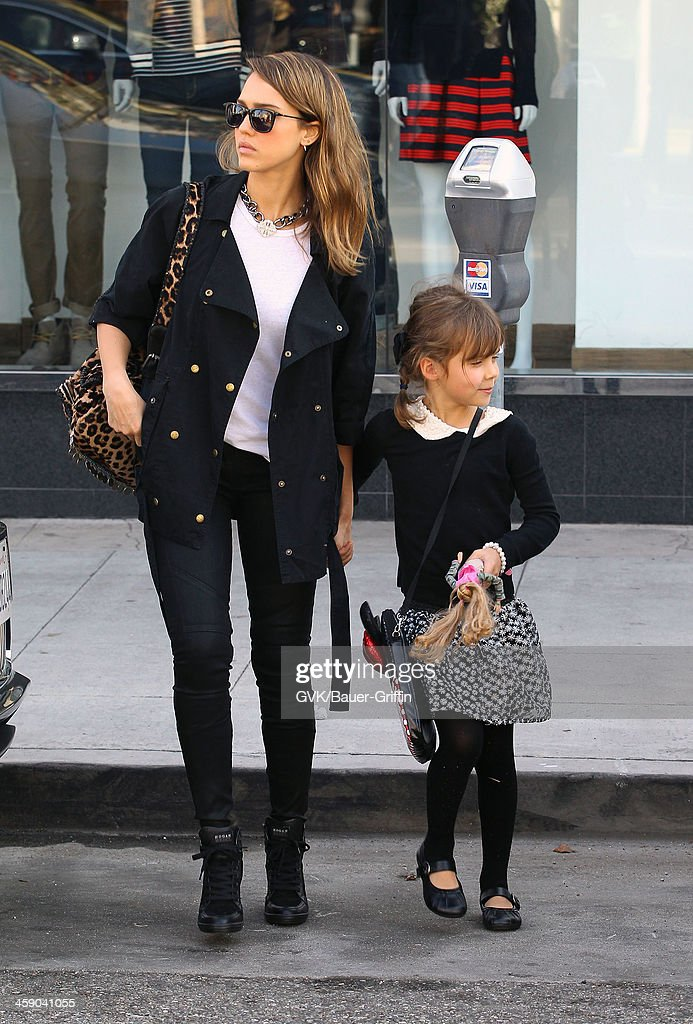 Jessica Alba and her daughter, Honor Warren, are seen on December 22, 2013 in Los Angeles, California.