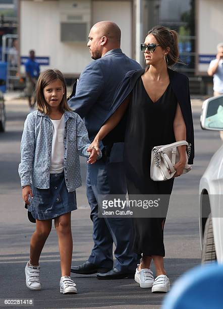 Jessica Alba and her daughter Honor Warren arrive for the women's final at Arthur Ashe Stadium on day 13 of the 2016 US Open at USTA Billie Jean King...
