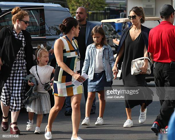 Jessica Alba and her daughters Honor Warren and Haven Warren arrive for the women's final at Arthur Ashe Stadium on day 13 of the 2016 US Open at...