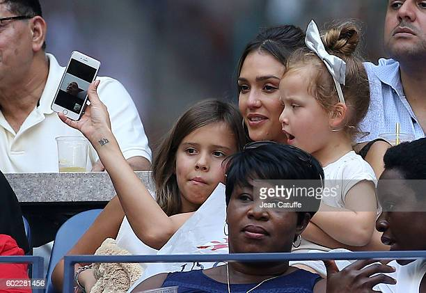 Jessica Alba and her daughters Honor Warren and Haven Warren attend the women's final at Arthur Ashe Stadium on day 13 of the 2016 US Open at USTA...