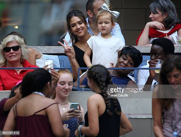Jessica Alba and her younger daughter Haven Warren attend the women's final at Arthur Ashe Stadium on day 13 of the 2016 US Open at USTA Billie Jean...