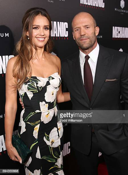 Jessica Alba and Jason Statham attend the Premiere Of Lionsgate Summit Premiere's 'Mechanic Resurrection' at ArcLight Hollywood on August 22 2016 in...