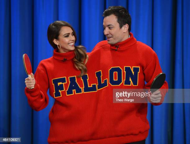Jessica Alba and Jimmy Fallon play a game of 'Double Turtleneck Ping Pong' during a taping of 'Late Night With Jimmy Fallon' at NBC Studios in NYC on...