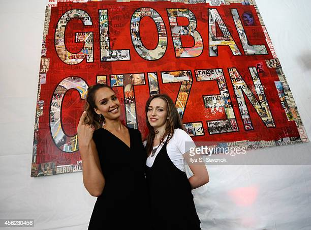 Jessica Alba and Jordan Hewson attend VIP Lounge at the 2014 Global Citizen Festival to end extreme poverty by 2030 in Central Park on September 27...