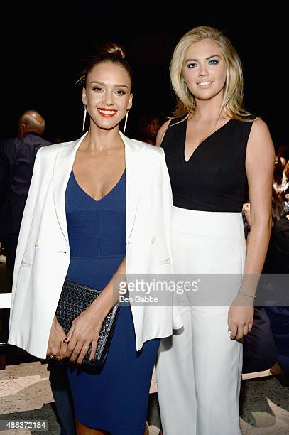 Jessica Alba and Kate Upton attend the Narciso Rodriguez Spring 2016 fashion show during New York Fashion Week at SIR Stage 37 on September 15 2015...