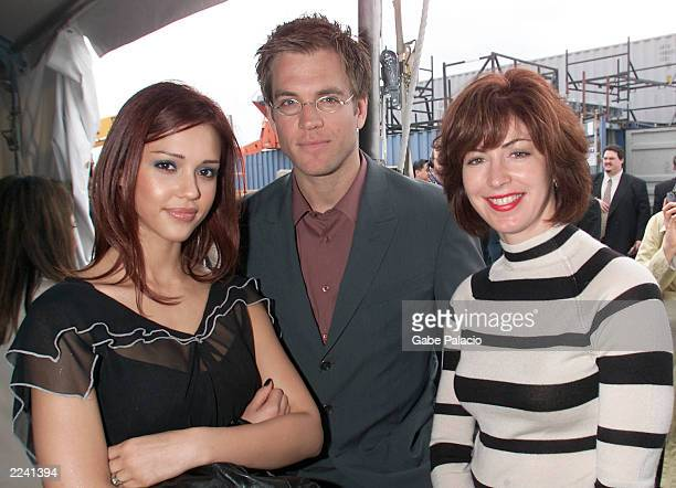 Jessica Alba and Michael Weatherly stars of Dark Angel and Dana Delaney star fo Pasadena at the Fox 2001 Upfront on the USS Intrepid in New York City...