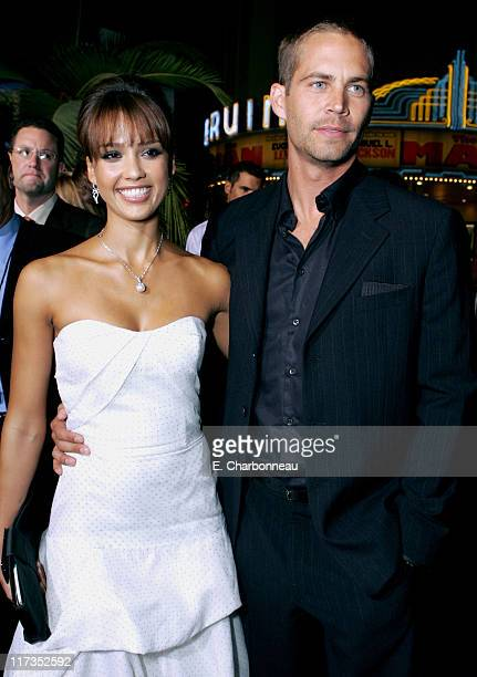 Jessica Alba and Paul Walker during MGM Pictures and Columbia Pictures 'Into the Blue' Premiere Red Carpet at Mann Village in Westwood California...