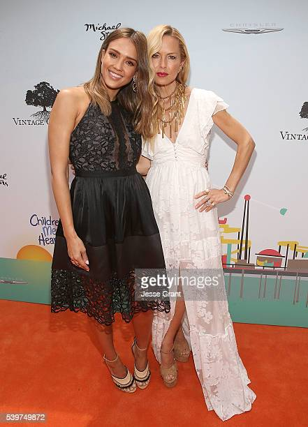 Jessica Alba and Rachel Zoe attend the Children Mending Hearts and Vintage Grocers Presents the 8th Annual Empathy Rocks event on June 12 2016 in...