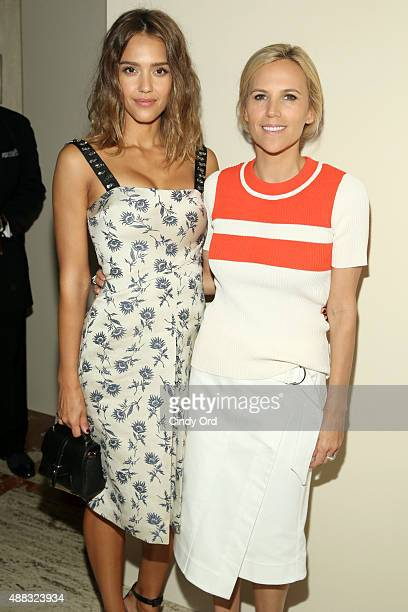 Jessica Alba and Tory Burch attend Tory Burch Spring 2016 at Avery Fisher Hall at Lincoln Center for the Performing Arts on September 15, 2015 in New...