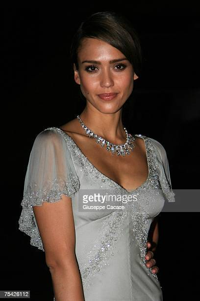 Jessica Alba arrives at the dinner at Palazzo Reale after the ballet 'Thanks Gianni with Love' to commemorate the tenth anniversary of the death of...
