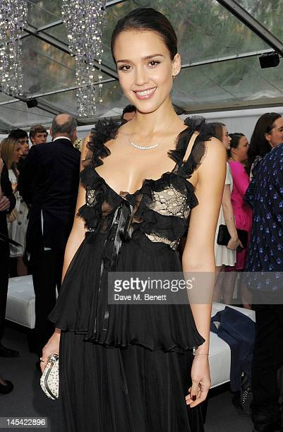 Jessica Alba arrives at the Glamour Women of the Year Awards in association with Pandora at Berkeley Square Gardens on May 29 2012 in London England