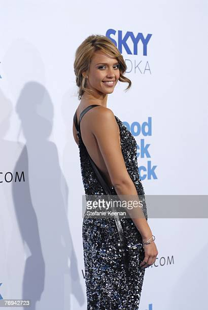 Jessica Alba arrives at the premiere of 'Good Luck Chuck' Sponsored by Skyy Vodka at Mann National Theatre on September 19 2007 in Westwood California