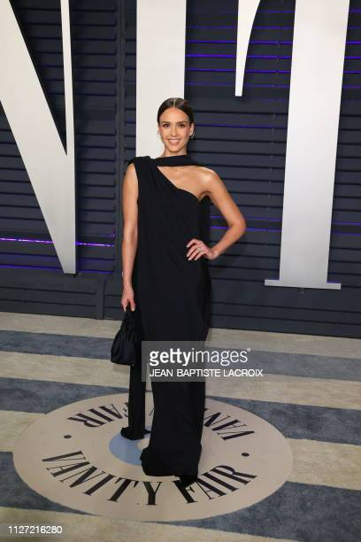 Jessica Alba arrives for the 2019 Vanity Fair Oscar Party at the Wallis Annenberg Center for the Performing Arts on February 24 2019 in Beverly Hills...