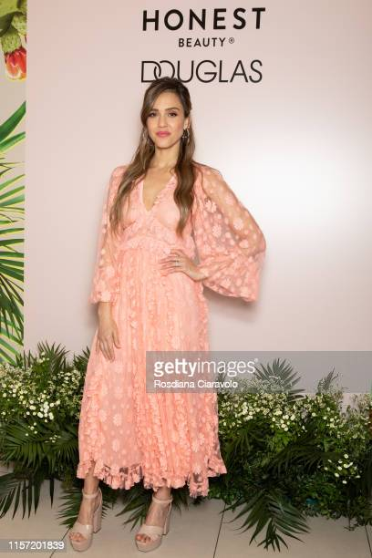 Jessica Alba attends a Meet Greet event for the presentation of the Honest Beauty line at Douglas store in Milan on June 20 2019 in Milan Italy