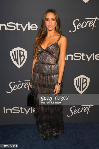 Jessica Alba attends The 2020 InStyle And Warner Bros. 77th Annual Golden Globe Awards Post-Party at The Beverly Hilton Hotel on January 05, 2020 in...