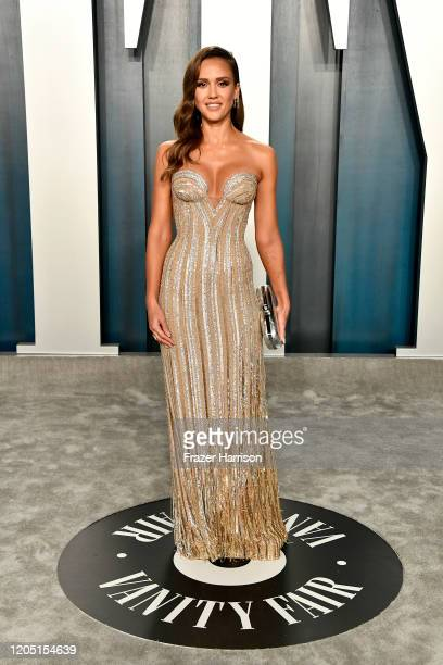 Jessica Alba attends the 2020 Vanity Fair Oscar Party hosted by Radhika Jones at Wallis Annenberg Center for the Performing Arts on February 09 2020...