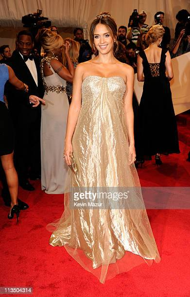 "Jessica Alba attends the ""Alexander McQueen: Savage Beauty"" Costume Institute Gala at The Metropolitan Museum of Art on May 2, 2011 in New York City."
