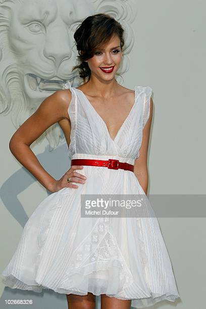 Jessica Alba attends the Chanel Haute Couture fashion show as part of the Paris Haute Couture Fashion Week Fall/Winter 2011 at Grand Palais on July...
