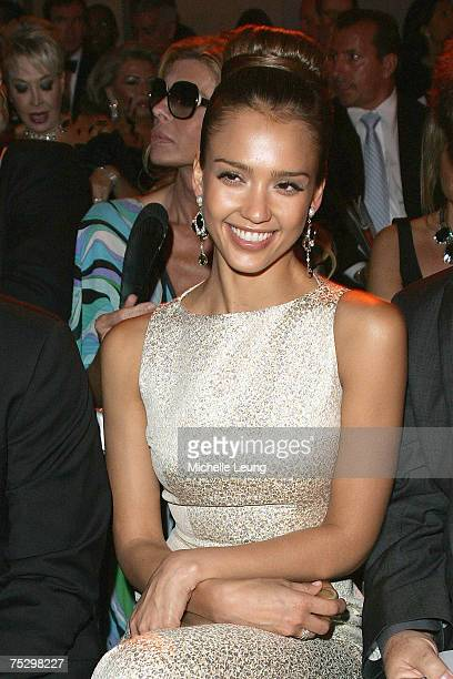 Jessica Alba attends the Christian Dior Haute Couture show celebrating 60 years at Chateau du Versailles Orangerie on July 2 2007 in Versailles France