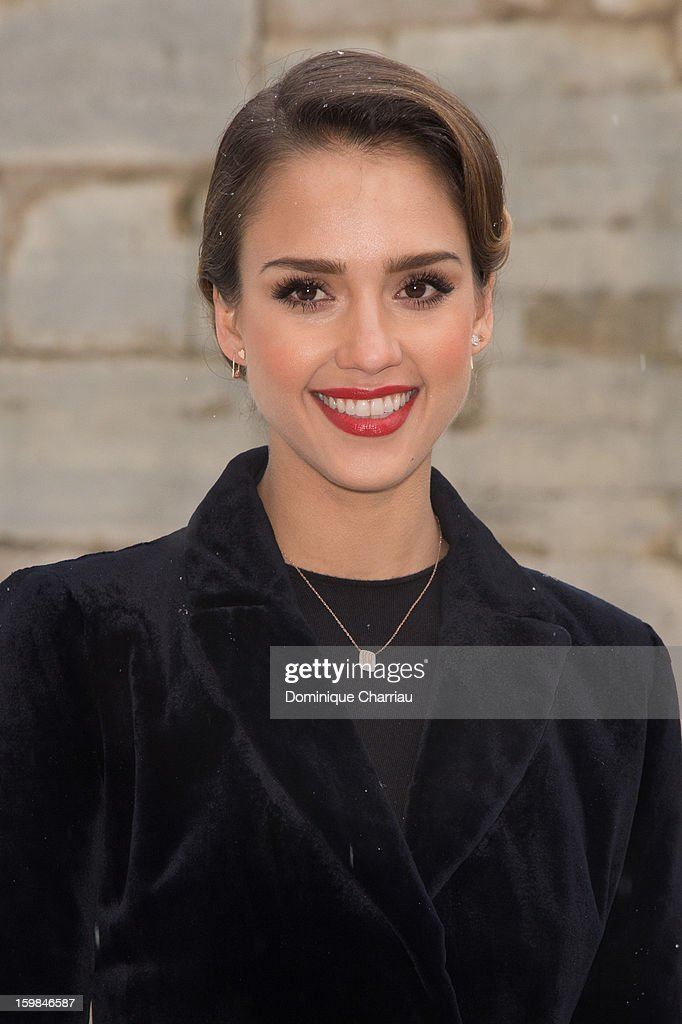 Jessica Alba attends the Christian Dior Spring/Summer 2013 Haute-Couture show as part of Paris Fashion Week at on January 21, 2013 in Paris, France.