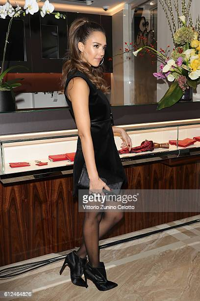 Jessica Alba attends the Lonchamp Cocktail as part of the Paris Fashion Week Womenswear Spring/Summer 2017 at Longchamp Boutique St Honore on October...