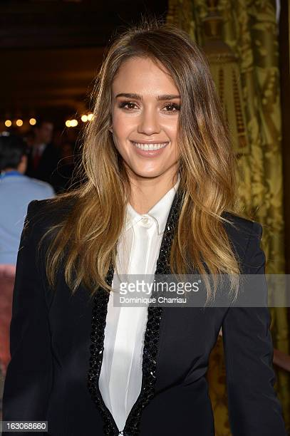 Jessica Alba attends the Stella McCartney Fall/Winter 2013 ReadytoWear show as part of Paris Fashion Week on March 4 2013 in Paris France