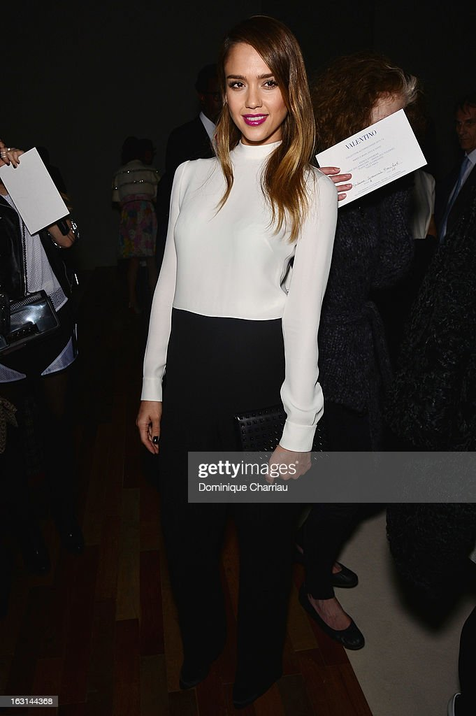 Jessica Alba attends the Valentino Fall/Winter 2013 Ready-to-Wear show as part of Paris Fashion Week on March 5, 2013 in Paris, France.