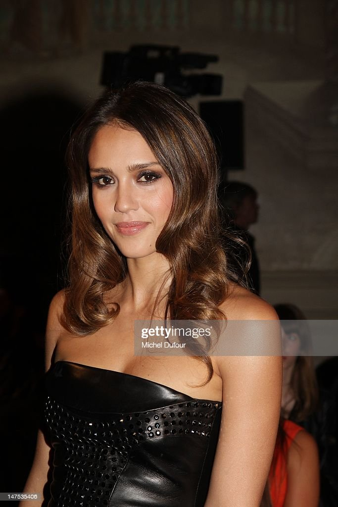 Jessica Alba attends the Versace Haute-Couture Show as part of Paris Fashion Week Fall / Winter 2012/13 on July 1, 2012 in Paris, France.