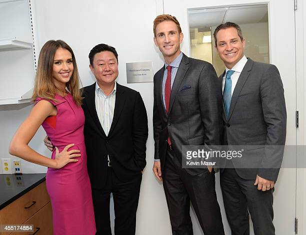 Jessica Alba Brian Lee Christopher Gavigan and Sean Kane attend the unveiling of The Honest Company Ultra Clean Room at The Mount Sinai Hospital on...