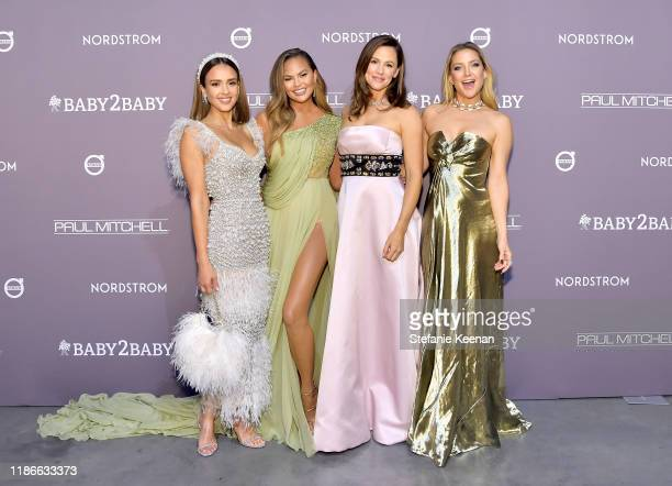 Jessica Alba Chrissy Teigen Jennifer Garner and Kate Hudson attend the 2019 Baby2Baby Gala presented by Paul Mitchell on November 09 2019 in Los...