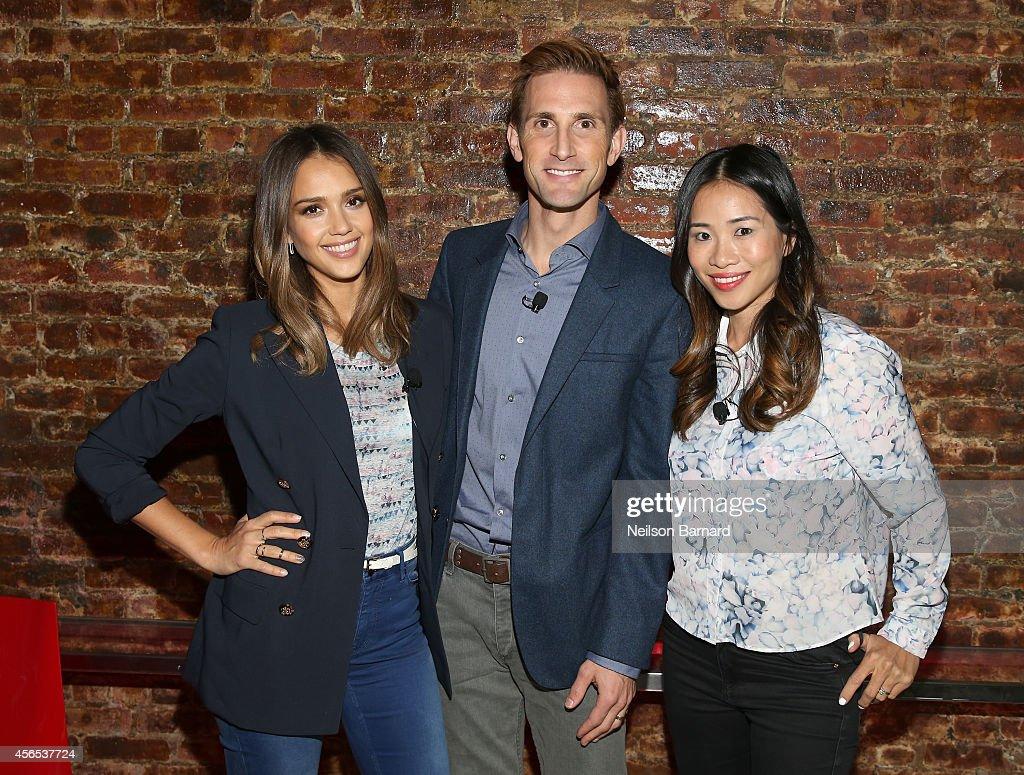Jessica Alba, Christopher Gavigan and Nina Tsang speak onstage during An Honest Conversation with Jessica Alba and Christopher Gavigan on September 29, 2014 in New York City.