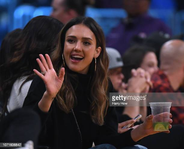 Jessica Alba courtside during the game between the Miami Heat and the Los Angeles Lakers at Staples Center on December 10 2018 in Los Angeles...