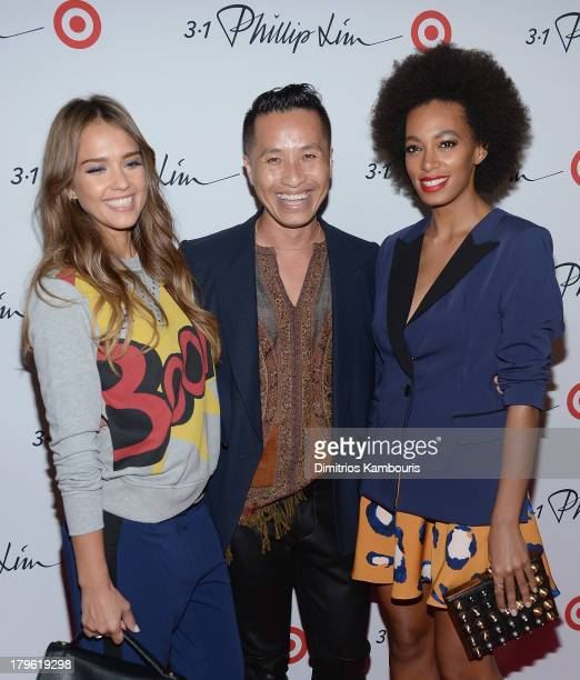 Jessica Alba, designer Phillip Lim and Solange Knowles attend the 3.1 Phillip Lim for Target Launch Event at Spring Studio on September 5, 2013 in...