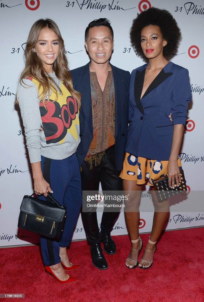 Jessica Alba, designer Phillip Lim and Solange Knowles attend the 3.1 Phillip Lim for Target Launch Event at Spring Studio on September 5, 2013 in New York City.