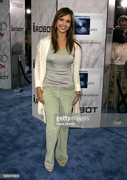 Jessica Alba during Access Hollywood Stage at the World Premiere of I ROBOT at Mann Village Theater in Westwood California United States